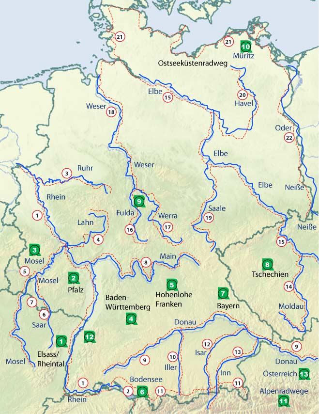 fernradwege deutschland karte Radwege und Fahrradtouren in Deutschland fernradwege deutschland karte