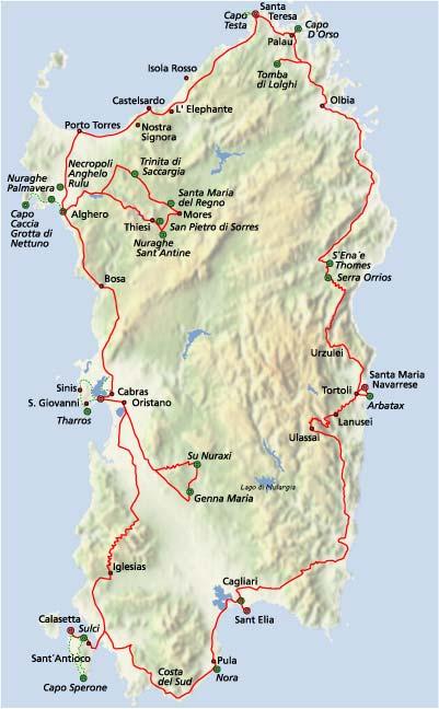 Sardinien Gesamt�bersicht der